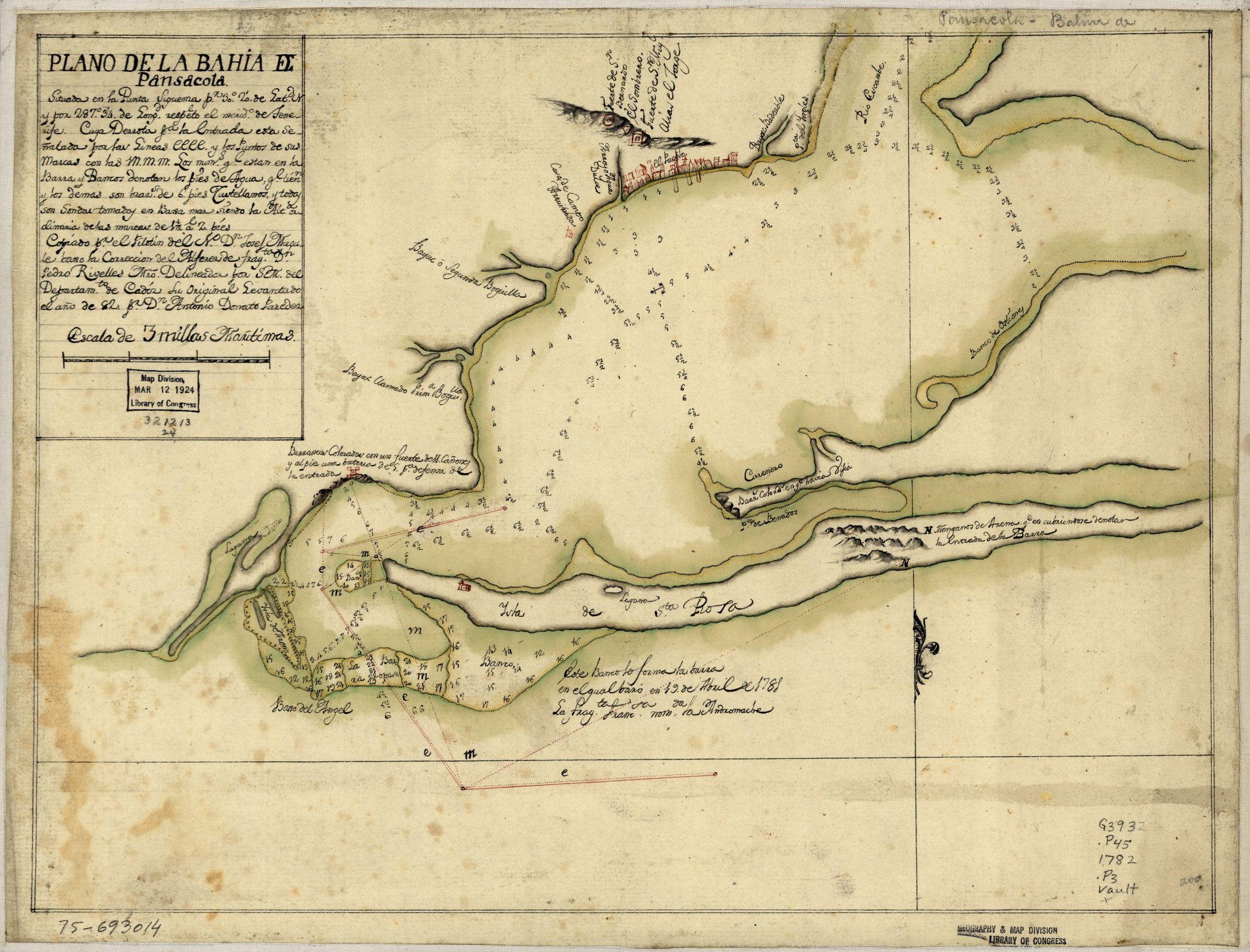 Plano de la Bahía de Pensacola